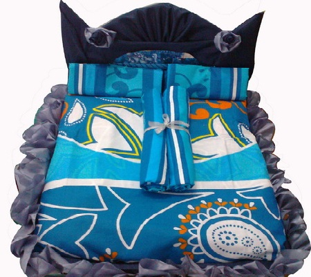 Cara membuat baki lamaran dari selimut bentuk kasur